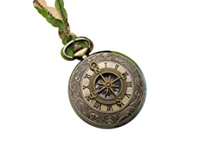 Victorian Compass pocket watch nautical pirate pendant charm necklace