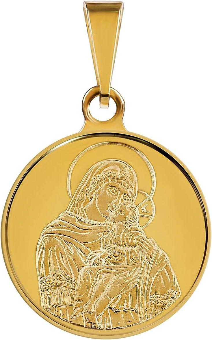 Modern Praying Madonna 18k Gold Pendant Etched Image Virgin Mary Pendant Italian 750 Gold Religious Pendant 750 Italian Yellow Gold Pendant