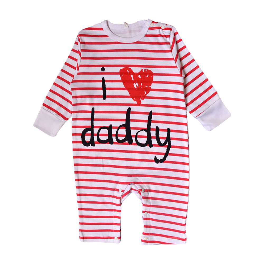 Nonna Bambini Love Daddy Baby Girl Striped Bodysuit Red (6M)