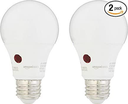 Amazonbasics 60 Watt Equivalent Dusk To Dawn Sensor Non Dimmable A19 Led Light Bulb Daylight 2 Pack
