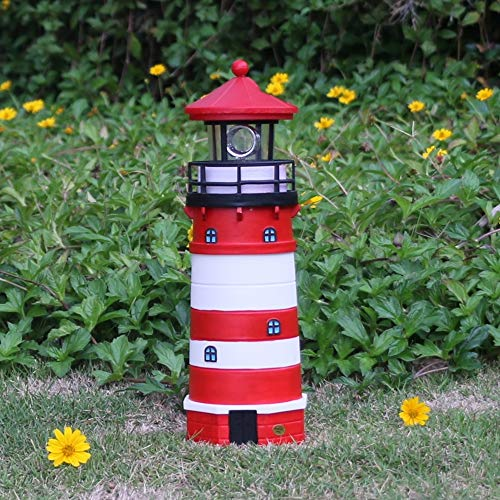 Solar Lighthouse,Plastic red and White Lighthouse ,Garden Patio Lawn Outdoor Decor,Christmas Lights,Christmas Decoration -