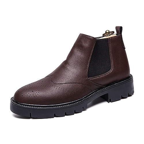 Los Botines Elegantes de Chelsea Son Casuales Brogue Slip On Outsole Botines: Amazon.es: Zapatos y complementos