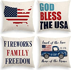 INSHERE Independence Day Farmhouse 4 Pack Throw Pillow Covers Cases for Couch Sofa Bed Home Decor, American Flag Truck Square Cotton Linen Cushion Cover 18 X 18 Inches (God Bless The USA 3)