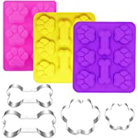 Ausplua 7 Pack Dog Cookie Cutter and Molds,Including 3 Pcs Jumbo Silicone Dog Treat Molds, and 4 Pack Stainless Steel…