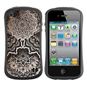 "Hypernova Slim Fit Dual Barniz Protector Caso Case Funda Para Apple iPhone 4 / iPhone 4S [Arte Dibujo Tinta Negro Blanco""]"