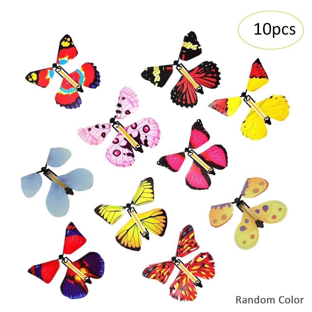 hinffinity 10 Pcs Papillon Volant, Jouet Papillon À Enroulement Classique, Carte-Cadeau Surprise Papillon Magique pour Carte Anniversaire De Mariage Carte Cadeau
