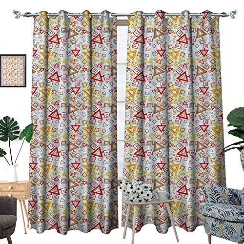 Abstract Thermal Insulating Blackout Curtain Squares Triangles Geometric Pattern Modern Art Vivid Colors Patterned Drape for Glass Door Pale Caramel Vermilion ()