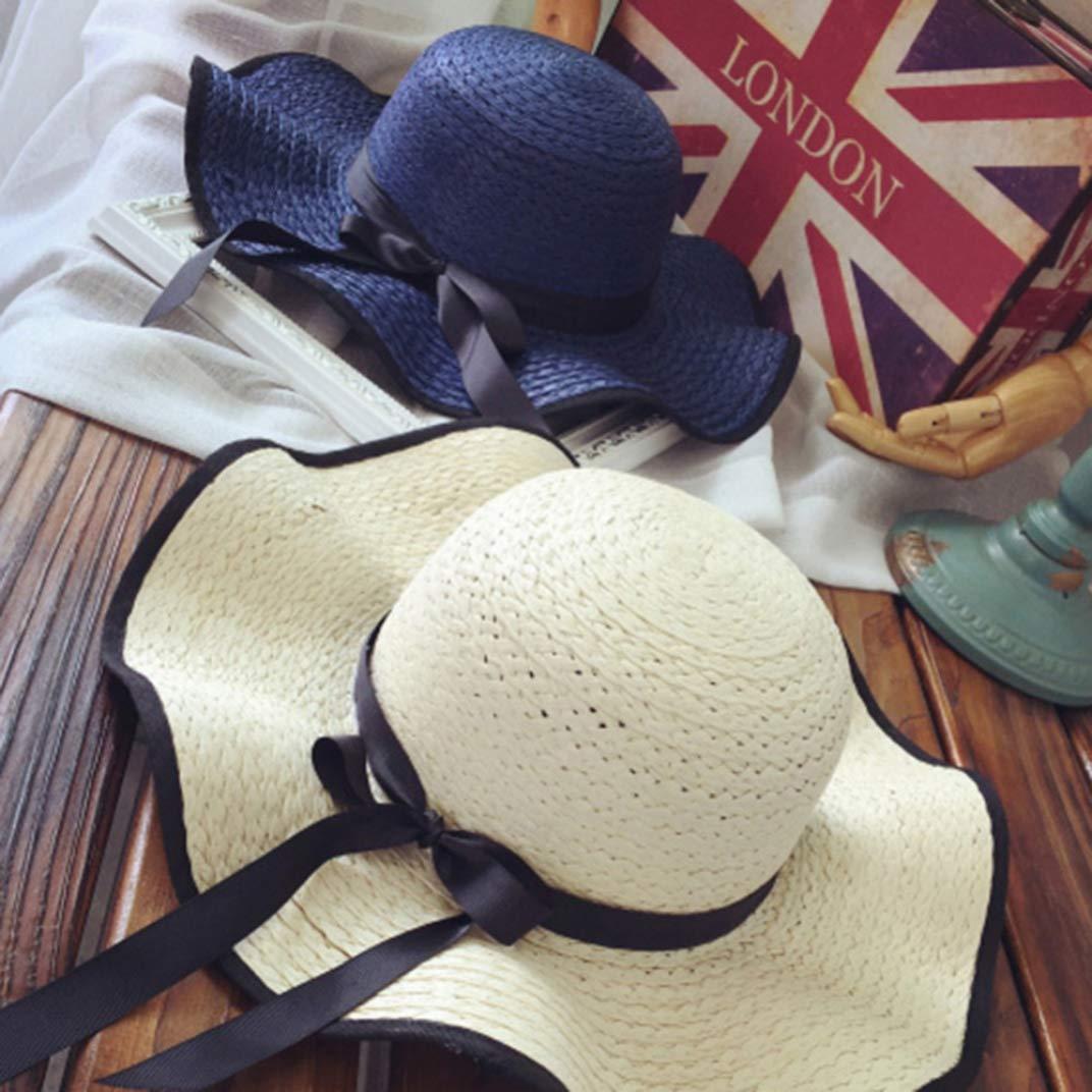 DOSOMI Womens Wide Brim Straw Hats Ladies Bowknot Visor Bucket Caps Travel Beach Collapsible Floppy Hat