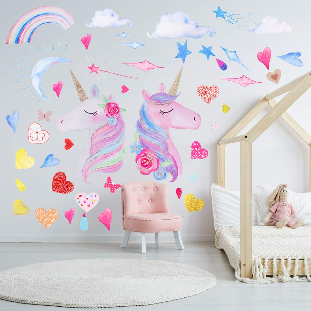 CEREALY 3 Sheets Unicorn Wall Decor Unicorn Wall Decals DIY Stickers with Heart Rainbow Star Moon for Gilrs Kids Bedroom Nursery Christmas Birthday Party