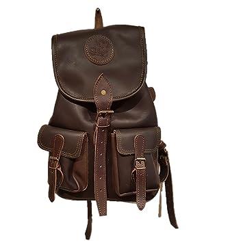 cazayaventura Mochila Fabricada en Piel marrón con 2 Bolsillos Frontales. Medidas 40x35x16: Amazon.es: Deportes y aire libre