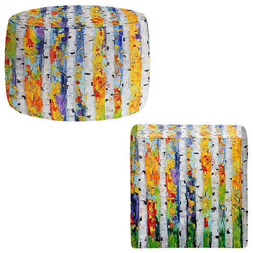 Foot Stools Poufs Chairs Round or Square from DiaNoche Designs by Karen Tarlton - Birch Trees by DiaNoche Designs