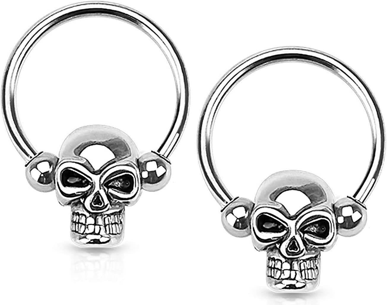 Forbidden Body Jewelry Set of 14G-16G Surgical Steel Skull CBR Hoops for Ear Lobes/Cartilage/Nipples