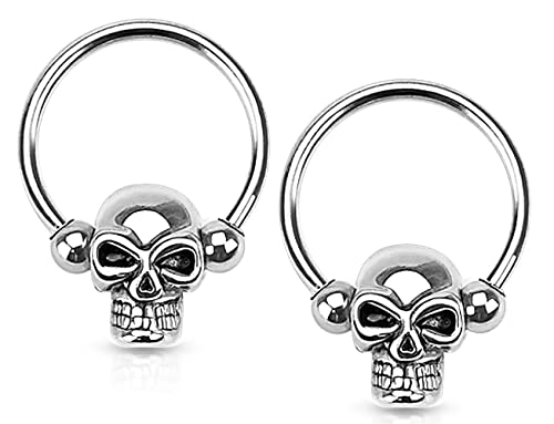 ec19260539d9b Forbidden Body Jewelry Set of 14G-16G Surgical Steel Skull CBR Hoops for  Ear Lobes/Cartilage/Nipples