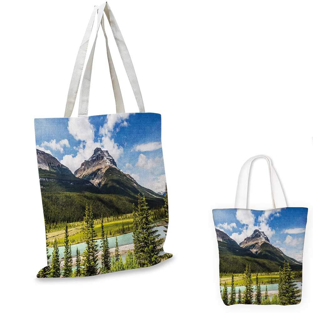 Landscape canvas messenger bag Canadian Nature Cliffs High Tops and Ranges in Spring Day Panorama Image Print canvas beach bag Green Blue 12x15-10
