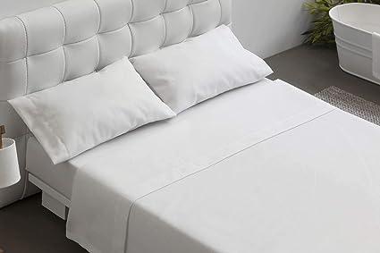 eec0e73117 BURRITO BLANCO Juego de Sábanas Blanco de Hostelería para Cama de  Matrimonio de 150 cm x