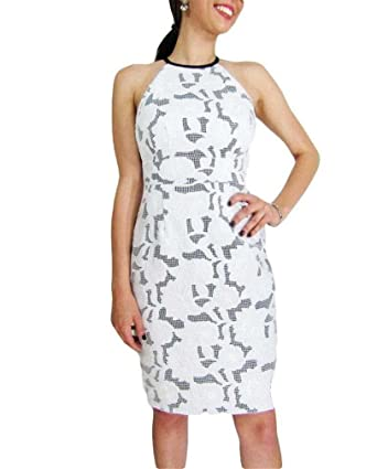 Katherine Kelly Women s Halter Top Embroidary Mackenzie Dress (White ... 9c201dc6d