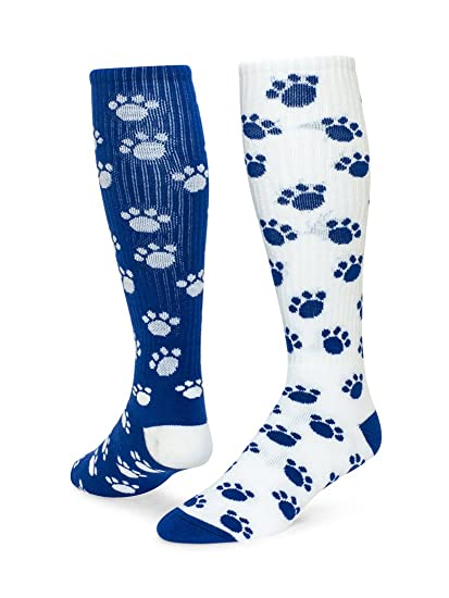 34474a08f Red Lion Paws Animal Print Mismatched Knee High American Made Socks ( Royal  Blue   White