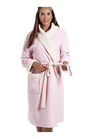 Camille Womens Ladies Pink Stay Soft Bonded Fleece Dressing Gown at ...