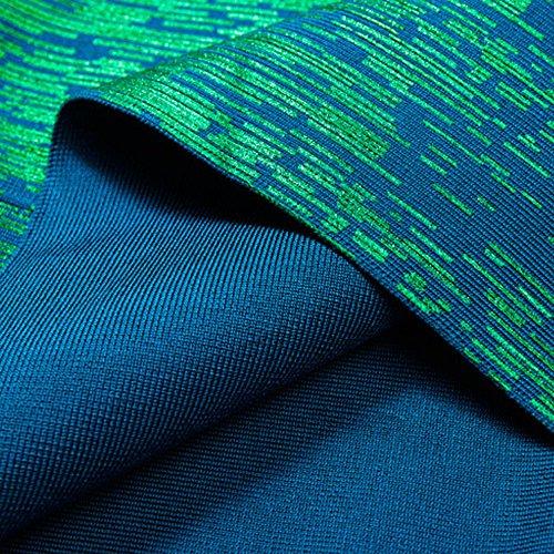 Metallic Damen Kleid Foliendruck HLBandage V Ausschnitt Reizvoller Grün Verband Kunstseide 5R5q7AX