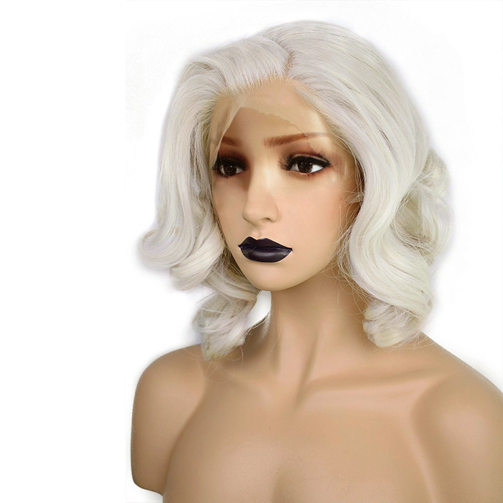 Anogol Hair Cap+ Light Platinum Blonde Lace Front Wig Synthetic Hair Short Curly Bob Wigs Glueless Natural Hairline For Women by ANOGOL