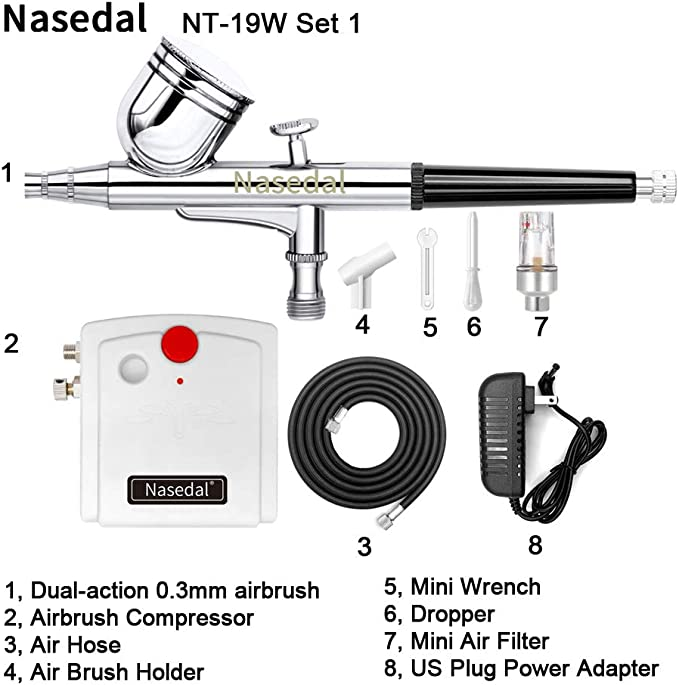 Multi-Purpose Dual Action Spray Air Brush Set Gravity Feed Portable Design for Art Painting Tattoo Manicure Craft Nouva Airbrush System Kit with Mini Air Compressor