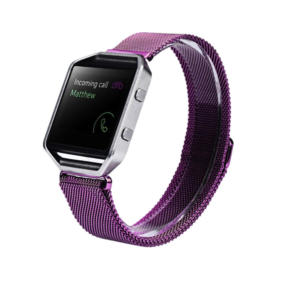 LANDFOX Milanese Magnetic Loop Stainless Steel Bands Strap Bracelet For Fitbit Blaze Purple