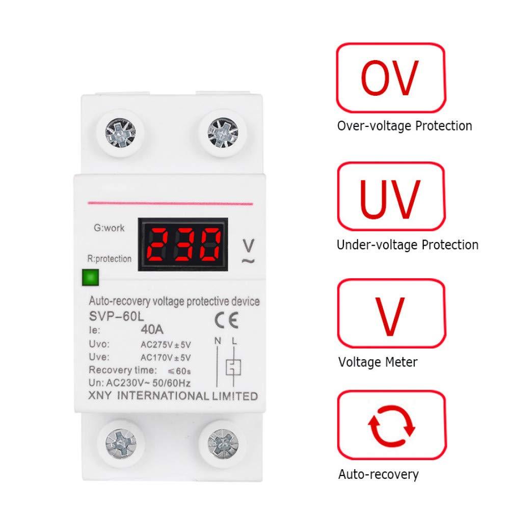 Disyuntor 230V Ac 40A Digital Din Rail Recuperación Automática Sobre Protector De Bajo Voltaje Con Pantalla De Voltímetro