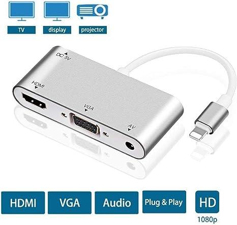 Topmixer Cable Adaptador 3 en 1 HDMI VGA AV, Audio AV, Compatible ...