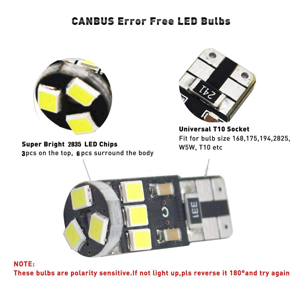 4-Pack T10 194 168 921 450Lums Red Extremely Bright Canbus Error Free LED Light 12V,9-SMD 2835 Chipsets Car Replacement Bulb for W5W 168 2825 Map Dome Courtesy License Plate Side Marker Light