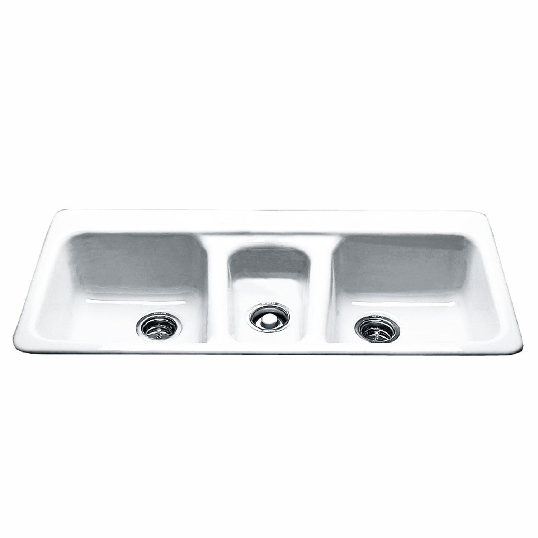 CECO Sinks-Bolsa Chica 797-4-20 Self Rimming Kitchen Sink 43'' X 22'' Cast Iron Triple Basin Sink