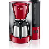 Bosch TKA6A684 ComfortLine Kaffeemaschine, 1200 W, Edelstahl-Thermokanne,1 l, Aroma+ Taste, Edelstahl/rot