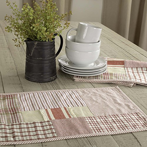 Patchwork Mat - Piper Classics Mill Creek Red Patchwork Placemats, Set of 4, 12