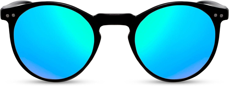 Cheapass Occhiali da Sole Rotondi Neri Blu Verdi Specchiati UV400 Vintage Retro Femmine Maschi