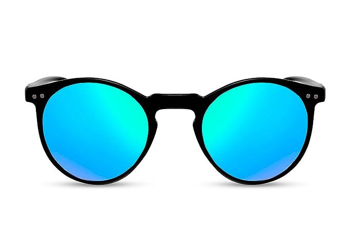 547432b620 Cheapass Occhiali da Sole Rotondi Neri Blu Verdi Specchiati UV400 Vintage  Retro Femmine Maschi