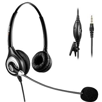 Arama Auriculares Teléfono Móvil Binaural con Cancelación de Ruido Micrófono, WANTEK Cascos Diadema para iPhone