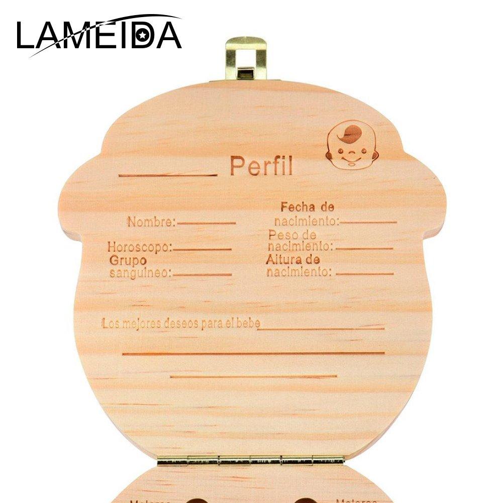 Caja Guardar Madera Diente Organizador de la Caja Organizador de Recuerdos Regalo para Ni/ños Ni/ñas Beb/é Spanish Texto Beb/é Dientes de Leche Caja Ni/ños