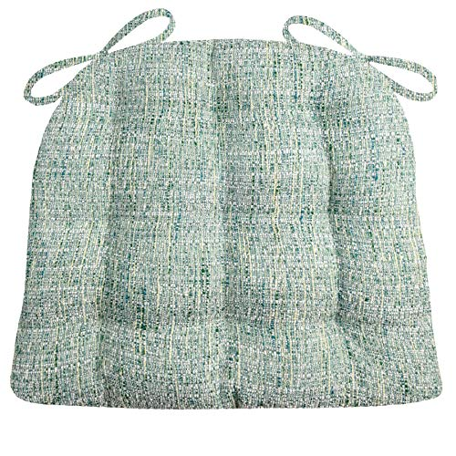 Barnett Products Brisbane Boucle Sea Glass Dining Chair Pads with Ties - Size Standard - Latex Foam Fill - Reversible