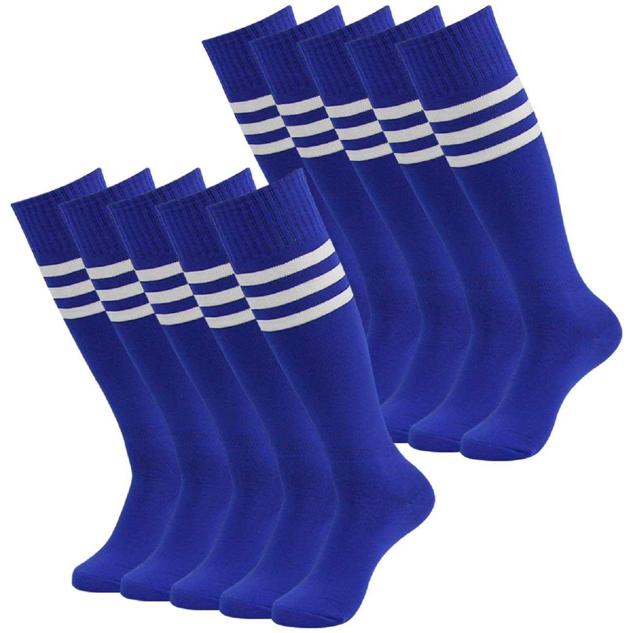 Soccer Socks for Women Men,Fasoar Knee High Baseball Rugby Running Football Socks 10 Pack Blue by Fasoar