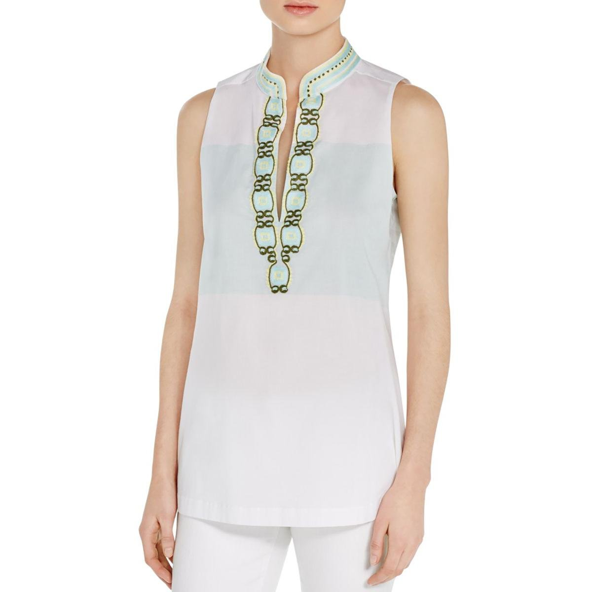 Tory Burch Womens Embroidered Sleeveless Tunic Top White 4