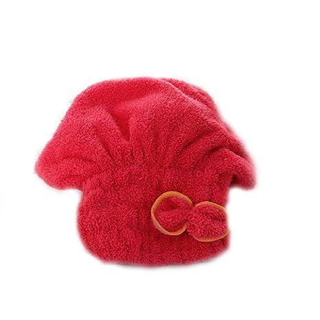 Brillante textil de microfibra de pelo turbante rápidamente cabello secado con toalla envuelta de baño rojo