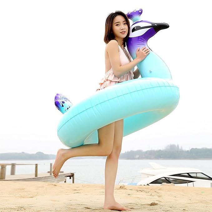 GFEU - Flotador hinchable gigante para piscina, creativo piscina de pavo real, tumbona de verano, piscina, playa, flotador de agua, balancín con válvulas ...