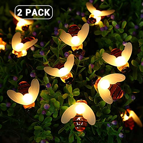 Joomer 2 Pack Honeybees Solar Garden Lights, 19.7ft 30 LED 8 Modes Solar String Lights Waterproof Fairy Lights for Patio, Lawn, Garden, Wedding, Party, Christmas Decorations Warm White