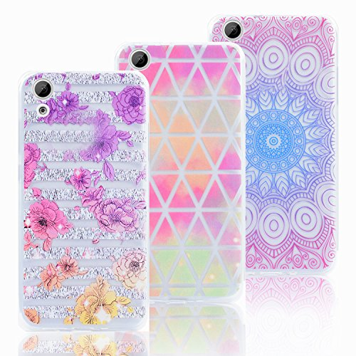 For HTC Desire 626 Case-Vandot [3-Pack] Soft Flexible TPU Crystal Clear Back Cover Rubber Bumper [Drop Protection / Shockproof Absorption] Protective Case-Purple Floral/ Diamond/ Totem Flower