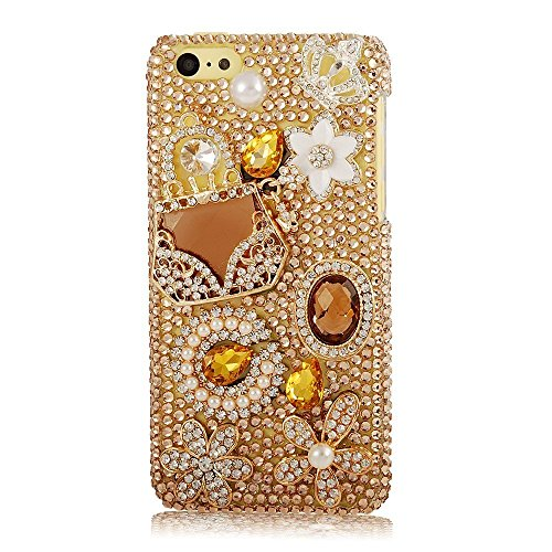 Iphone 7 Plus 5.5inch Bling Gold Gems Smartphone Cover,Yaheeda Flower Design 3D Handmade Rhinetstone Phone Case