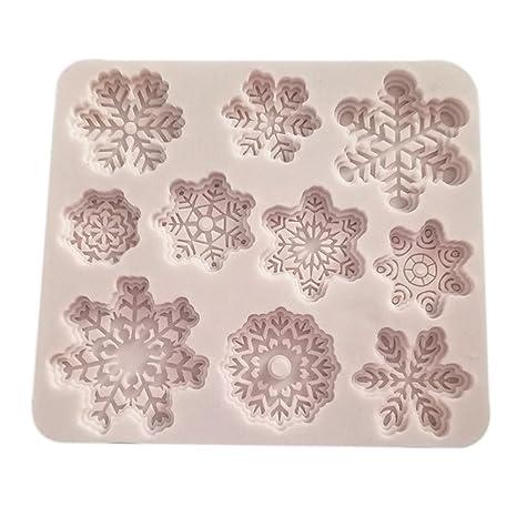 bestomz 10 Cavidad Navidad silicona moldes para hornear moldes de pastel de Navidad copo de nieve