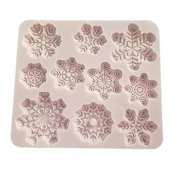 ounona Navidad 3d molde de silicona de repostería para moldes Navidad copo de nieve Forma para tartas Fondant Chocolate molde para hornear bandeja Flexible ...