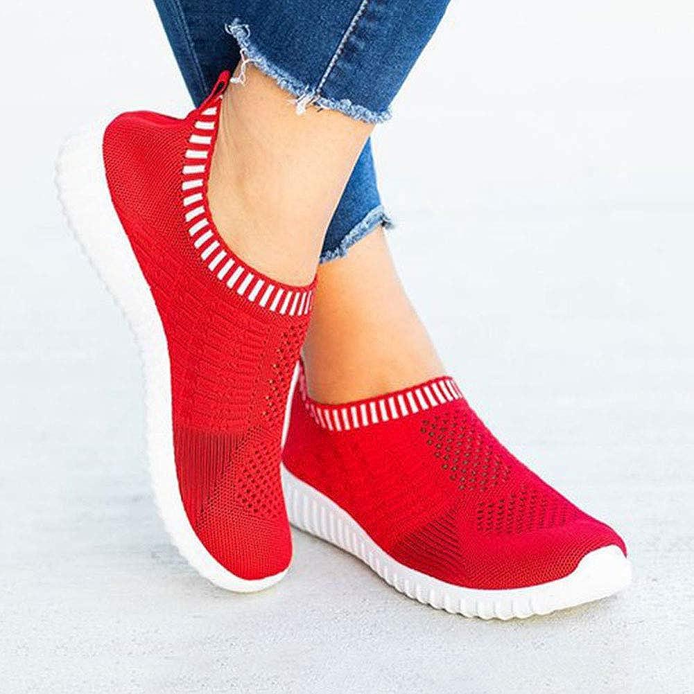Minetom Femme Baskets de Course Respirant Mesh Chaussures de Sports Running Fitness Gym Athlétique Sneakers Basses Rouge