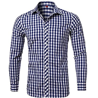 Men's Plaid Shirt, 100% Cotton Slim Fit Casual Botton Down Shirts Long Sleeve Dress Shirts