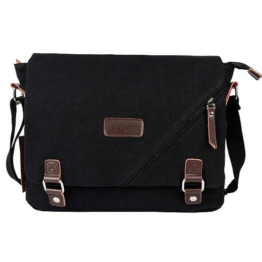 Canvas Messenger Bag Shoulder Bag Laptop Bag Computer Bag Satchel Bag Bookbag School Bag Working Bag for Men and Women Black Large
