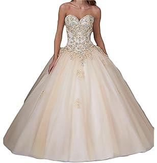 XUYUDITA Vestido de Baile de Cristal de Amor de Mujeres Larga Quinceanera Vestidos de Baile